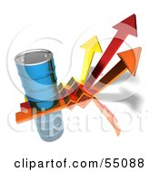 Royalty Free RF Clipart Illustration Of A 3d Blue Barrel Of Oil On Three Descending Arrows Version 3 by Julos