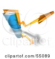 Royalty Free RF Clipart Illustration Of A 3d Yellow Arrow Going Around A Blue Oil Barrel Version 4
