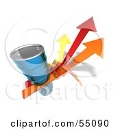 Royalty Free RF Clipart Illustration Of A 3d Blue Barrel Of Oil On Three Descending Arrows Version 2