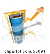 Royalty Free RF Clipart Illustration Of A 3d Yellow Arrow Going Around A Blue Oil Barrel Version 2 by Julos