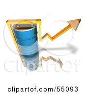 Royalty Free RF Clipart Illustration Of A 3d Yellow Arrow Going Around A Blue Oil Barrel Version 3 by Julos