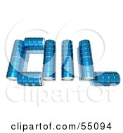 Royalty Free RF Clipart Illustration Of Blue 3d Barrels Spelling The Word OIL Version 3