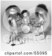 Royalty Free RF Clipart Illustration Of 3d Human Like Creature Characters Playing In A Rock Band Version 1