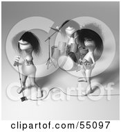 Royalty Free RF Clipart Illustration Of 3d Human Like Creature Characters Playing In A Rock Band Version 2