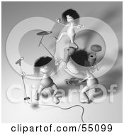 Royalty Free RF Clipart Illustration Of 3d Human Like Creature Characters Playing In A Rock Band Version 4