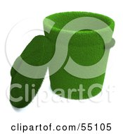 Royalty Free RF Clipart Illustration Of A Lid Resting Against A 3d Grassy Green Trash Can