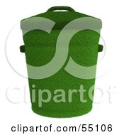 Royalty Free RF Clipart Illustration Of A 3d Grassy Green Trash Can