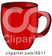 Empty Red Coffee Cup Clipart Illustration