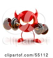 3d Red Devil Head Weight Lifting