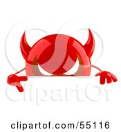 3d Red Devil Head Character Giving The Peace Sign And Standing Behind A Blank Sign