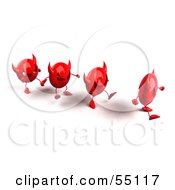 Royalty Free RF Clipart Illustration Of A Row Of Red 3d Devil Heads Walking In A Line Version 1