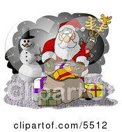 Rudolph Watching Santa Pick Out Christmas Presents From His Bag Clipart Illustration