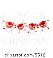 Royalty Free RF Clipart Illustration Of A Row Of 3d Red Devil Heads Marching Forward Version 1