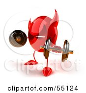 Royalty Free RF Clipart Illustration Of A 3d Red Devil Head Lifting Weights