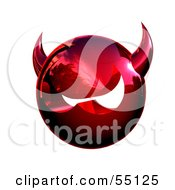Royalty Free RF Clipart Illustration Of A 3d Metal Devil Head Glaring Version 3