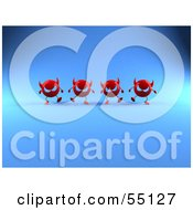 Royalty Free RF Clipart Illustration Of A Row Of 3d Red Devil Heads Marching Forward Version 5