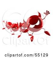Royalty Free RF Clipart Illustration Of A Row Of 3d Red Devil Heads Marching Forward Version 3