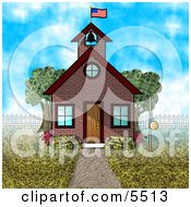 American Schoolhouse Clipart Illustration