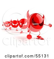 Royalty Free RF Clipart Illustration Of A Row Of Red 3d Devil Heads Walking In A Line Version 2