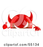 3d Red Devil Head Character Giving The Thumbs Up And Standing Behind A Blank Sign