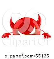 3d Red Devil Head Character Standing Behind A Blank Sign