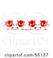 Royalty Free RF Clipart Illustration Of A Row Of 3d Red Devil Heads Marching Forward Version 2 by Julos
