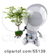 Royalty Free RF Clipart Illustration Of A 3d Robotic Lightbulb Character Holding A Plant Version 3 by Julos