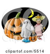 Halloween Pumpkin Trick-Or-Treaters And Witch Flying In Front Of A Crescent Moon