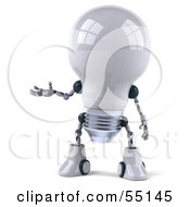 Royalty Free RF Clipart Illustration Of A 3d Robotic Lightbulb Character Holding One Hand Out Version 1 by Julos