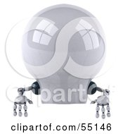 Royalty Free RF Clipart Illustration Of A 3d Robotic Lightbulb Character Standing Behind A Blank Sign by Julos