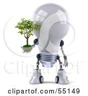 3d Robotic Lightbulb Character Holding A Plant - Version 1