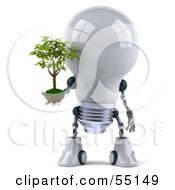 Royalty Free RF Clipart Illustration Of A 3d Robotic Lightbulb Character Holding A Plant Version 1