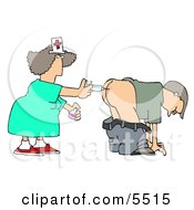 Patient Getting Shot In The Butt By A Nurse With A Syringe Clipart Illustration