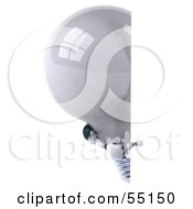 Royalty Free RF Clipart Illustration Of A 3d Robotic Lightbulb Character Looking Around A Blank Sign Version 2 by Julos