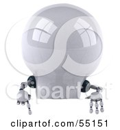 Royalty Free RF Clipart Illustration Of A 3d Robotic Lightbulb Character Pointing Down At And Standing Behind A Blank Sign by Julos