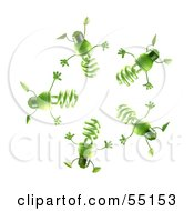 Royalty Free RF Clipart Illustration Of A Group Of Green 3d Spiral Light Bulb Characters In A Circle