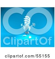 Royalty Free RF Clipart Illustration Of A Blue 3d Spiral Light Bulb Character Holding His Arms Open Version 2 by Julos