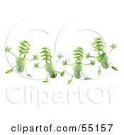 Royalty Free RF Clipart Illustration Of Four Green 3d Spiral Light Bulb Characters Leaping