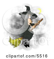 Wicked Witch Flying On A Broomstick In The Dark Night Sky During Halloween Clipart Illustration