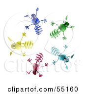 Royalty Free RF Clipart Illustration Of A Group Of Colorful 3d Spiral Light Bulb Characters In A Circle by Julos