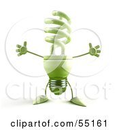 Royalty Free RF Clipart Illustration Of A Green 3d Spiral Light Bulb Character Holding His Arms Open Version 3 by Julos