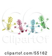 Royalty Free RF Clipart Illustration Of Four Colorful 3d Spiral Light Bulb Characters Leaping by Julos