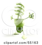 Royalty Free RF Clipart Illustration Of A Green 3d Spiral Light Bulb Character Holding His Arms Open Version 4 by Julos
