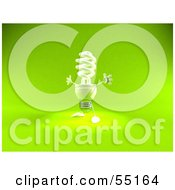 Royalty Free RF Clipart Illustration Of A Green 3d Spiral Light Bulb Character Holding His Arms Open Version 2 by Julos