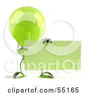 Royalty Free RF Clipart Illustration Of A Green 3d Glass Light Bulb Character Holding Up A Blank Business Card Or Sign Version 2