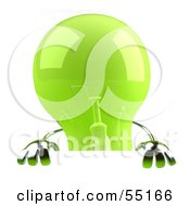 Royalty Free RF Clipart Illustration Of A Green 3d Glass Light Bulb Character Holding Up A Blank Sign