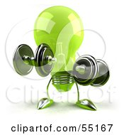 Royalty Free RF Clipart Illustration Of A Green 3d Glass Light Bulb Character Lifting Weights Version 1
