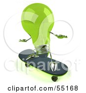 Royalty Free RF Clipart Illustration Of A Green 3d Glass Light Bulb Character Skateboarding Version 2