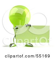 Royalty Free RF Clipart Illustration Of A Green 3d Glass Light Bulb Character Holding Up A Blank Business Card Or Sign Version 1
