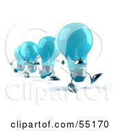 Royalty Free RF Clipart Illustration Of A Line Of Blue 3d Glass Light Bulb Characters